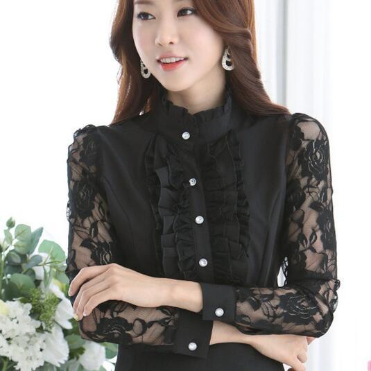 2017 bordir kemeja wanita chiffon blus lengan panjang katun renda elegan pakaian