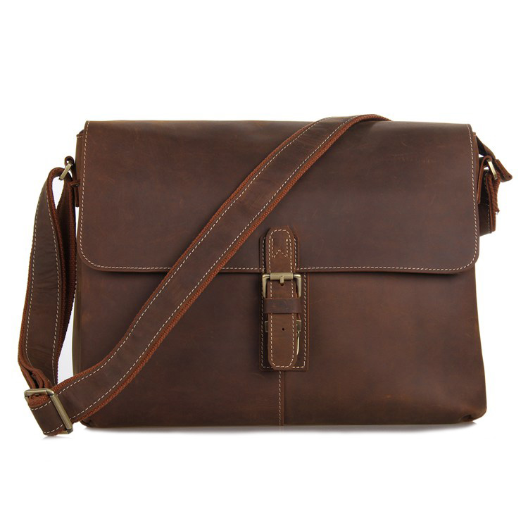 Vintage Genuine Crazy Horse Leather Brown Leather Weekend Bag Shoulder Men s Messenger Bag Laptops Men
