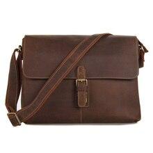 Vintage Genuine Crazy Horse Leather Brown Leather Weekend Bag Shoulder Men's Messenger Bag Laptops Men Travel Bags #MD-J7084L