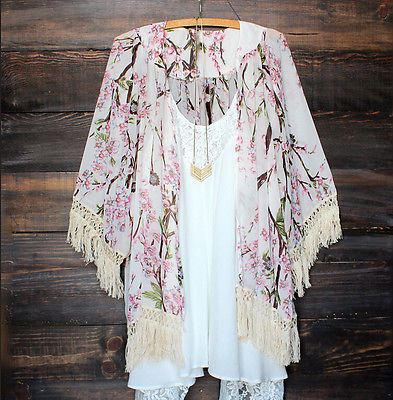 2017 Women Vintage Cardigan Floral Print Cherry Blossoms Tops Beach Cover Up Lace Kimono Tassel Thin White Blends