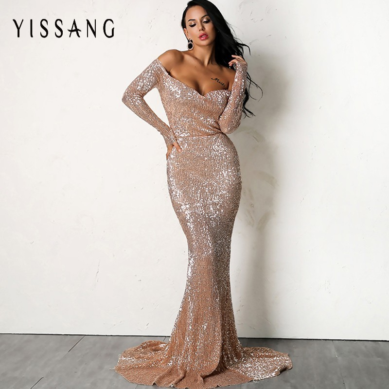 Detail Feedback Questions about Yissang Sexy Gold Silver Sequin Floor  Length Backless Dress Pink V Neck Long Sleeve Women Prom Party Formal Dress  Drop ... a4b63c9d75af