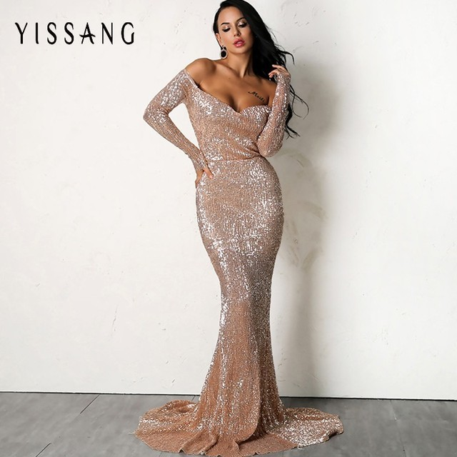 Yissang Sexy Gold Silver Sequin Floor Length Backless Dress Pink V Neck  Long Sleeve Women Prom Party Formal Dress Drop Shipping ee4bab0cf5d8