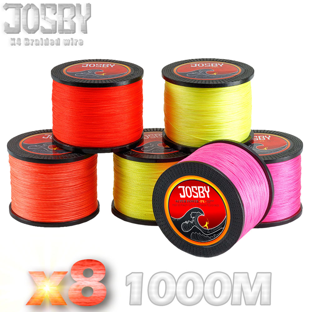 JOSBY 8 Strand Japan Super Strong PE Braided Fishing Line Multifilament Fishing Line 1000m Braid Thread Black 15LB -80LB