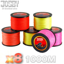 JOSBY Eight Strand Japan Tremendous Sturdy PE Braided Fishing Line Multifilament Fishing Line 1000m Braid Thread Black 15LB -80LB