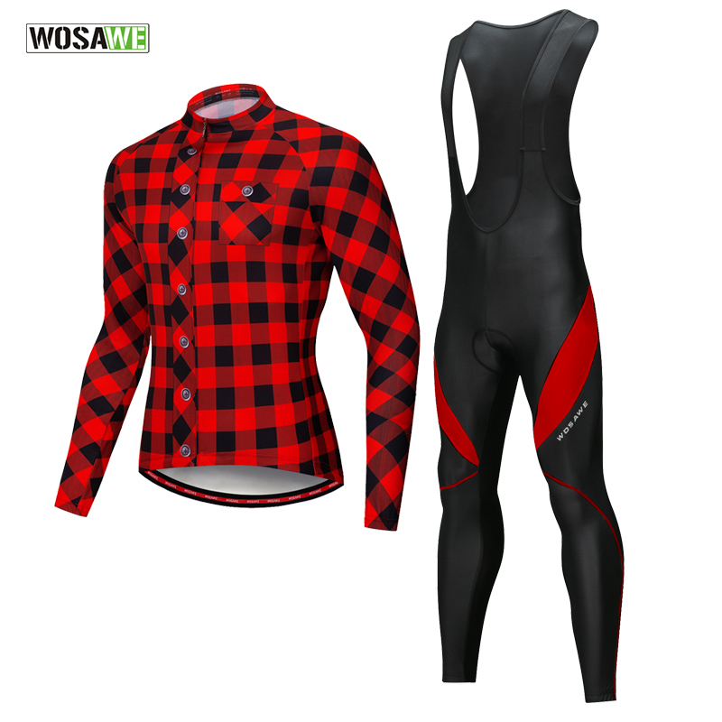 WOSAWE Autumn Cycling Clothing Long Sleeve Jersey Set Quick Dry Bike Bicycle Suits Cycling Kit Ropa