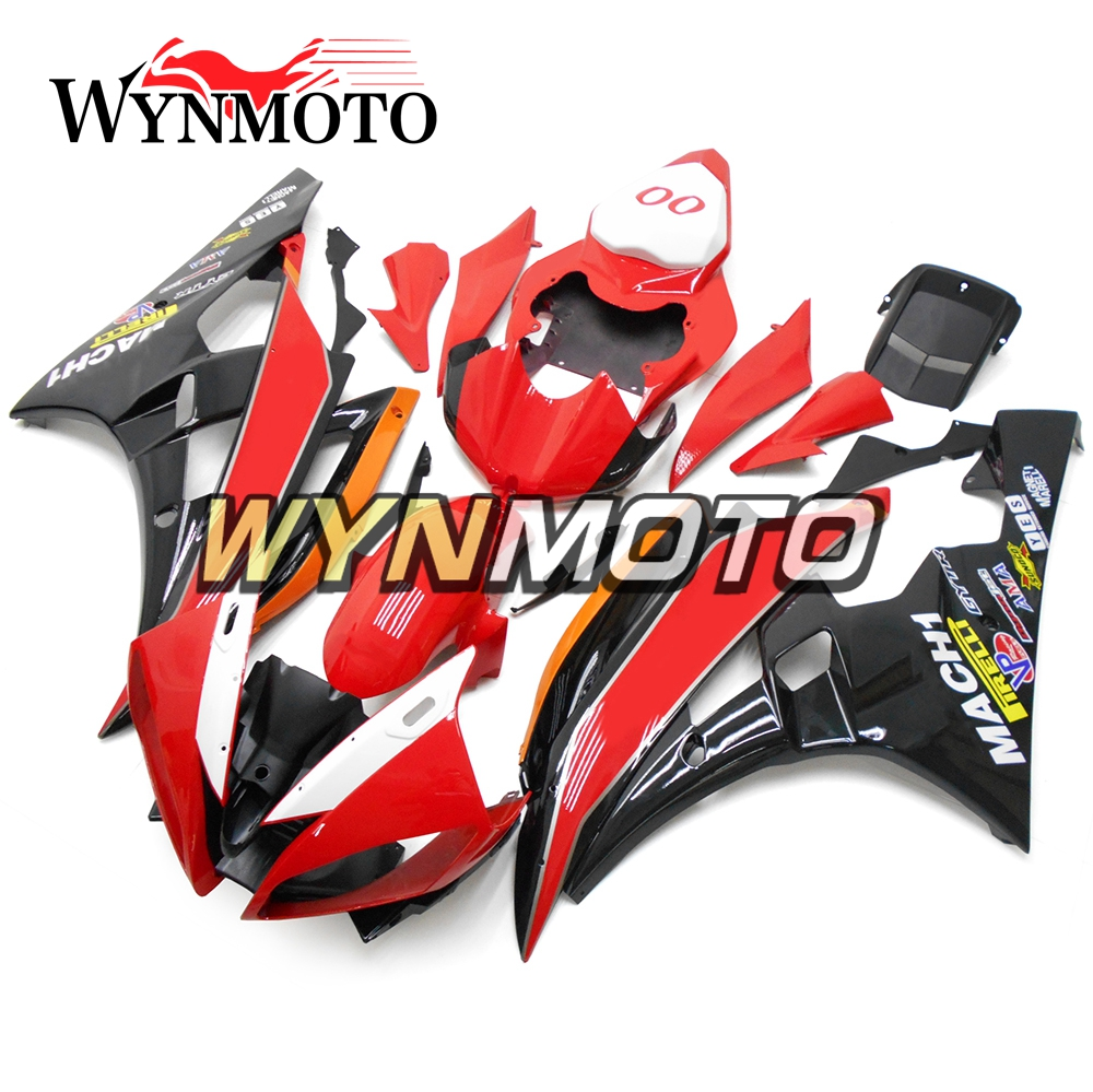 Complete ABS Plastic Injection Matte Red White Black New Motorcycle Fairings For Yamaha YZF R6 Year 06 07 2006 2007 Cowlings
