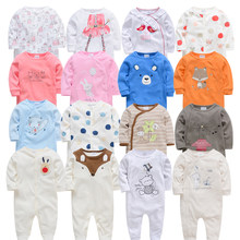 2019 3 4 pcs/lot Summer Baby Boy roupa de bebes Newborn Jumpsuit Long Sleeve Cotton Pajamas 0-12 Months Rompers Baby Clothes(China)