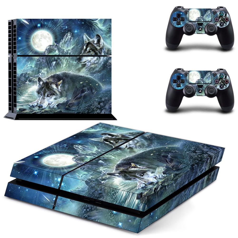 Moonlight Wolf Vinly PS4 Skin Sticker For PS4 PlayStation 4 Console and 2 Controller skins