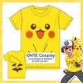 ONTE Japan Games Pokemon Anime Pocket Monster Cosplay T Shirts Snap Cute Pikachu Animation Short Sleeve T-shirt