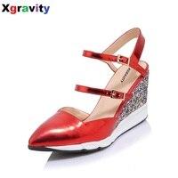 Sıcak Hakiki Deri Toka Kayış Ayakkabı Zarif Yüksek Topuk Kapalı Ayak Elbise Sandalet Konfor kadın Sandalet Seksi Kama Ayakkabı B271