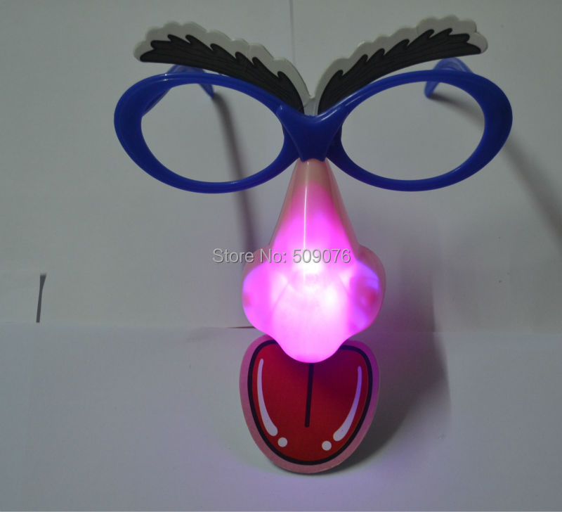 Free shipping 120pcs/lot led big nose glasses Mask Head Halloween party mask LED Glowing Party Mask Birthday Halloween Boy Gift