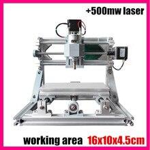 GRBL управления Diy 1610 мини ЧПУ гравировальный станок лазера, рабочая зона 16x10x4.5 см, 3 оси печатной пвх Фрезерный Станок + 500 МВт лазерная
