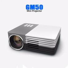 Светодиодный мини проектор gm50 портативный видеопроектор с