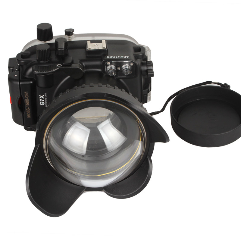 In Stock!Meikon Waterproof Underwater Camera Housing Case for Canon G7X+ 200mm Fisheye Wide Angle Lens Dome Port (67mm Round ) in stock meikon underwater diving camera waterproof housing case for canon g15 as wp dc48