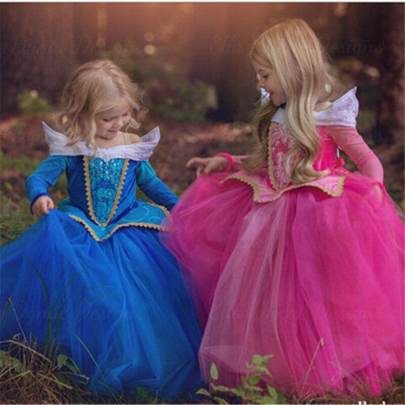 HTB1A08viLiSBuNkSnhJq6zDcpXa1 Fancy Girl Princess Dresses Sleeping Beauty Jasmine Rapunzel Belle Ariel Cosplay Costume Elsa Anna Sofia Children Party Clothes