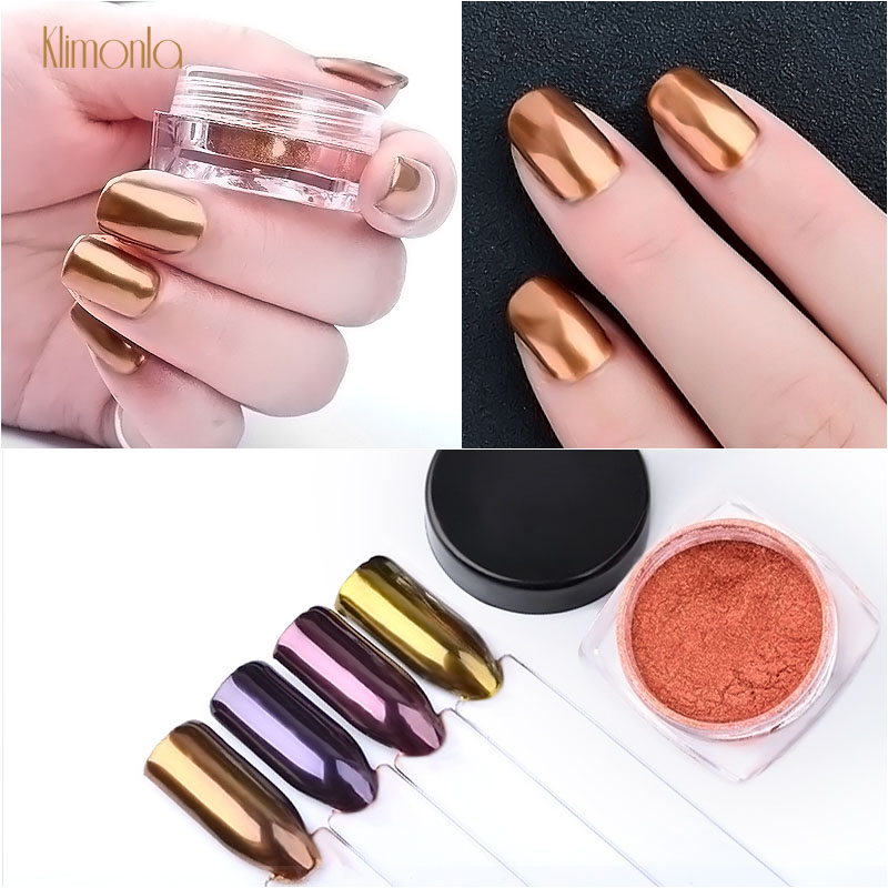 1pcs Rose Gold Nail Art Glitter Powder Mirror Laser Nail Polish Pigment Dust Shinning Holographic Nail Decoration Tips
