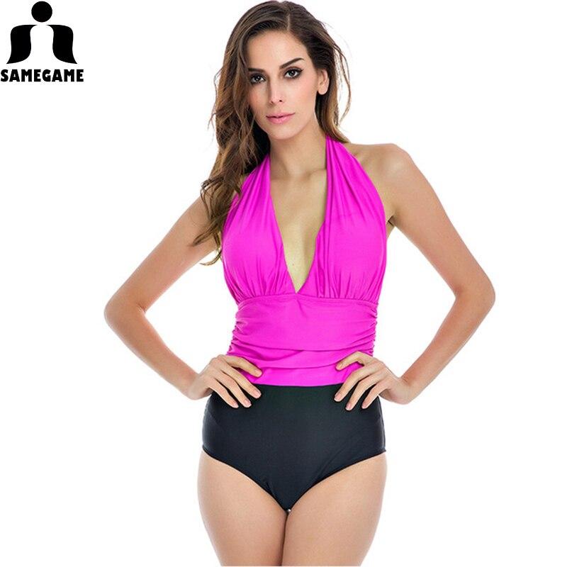 455883ccd9 One Piece Swimsuit Plus Size Swimwear Women 2018 New High Waisted Bathing  Suits Beachwear Backless Halter Top Vintage Swim Wear