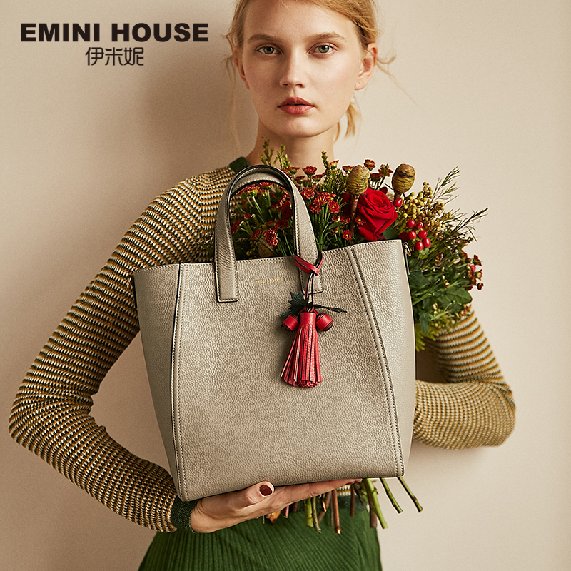 EMINI HOUSE Genuine Leather Tote Bag with Christmas Tassel Luxury Handbags Women Bags Designer Crossbody Bag