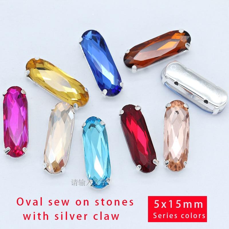 Bijoux en pierre fantaisie coudre sur strass | Toutes les couleurs, rectangle ovale couleur argent, bouton de griffe pour robe, artisanat de mariage