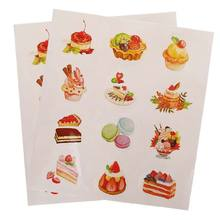 24Pcs Stickers Labels Set Scrapbook Decoration Paster Printed With Pattern Of Cake Ice Cream Dessert For Slime Mud Light Clay Or(China)