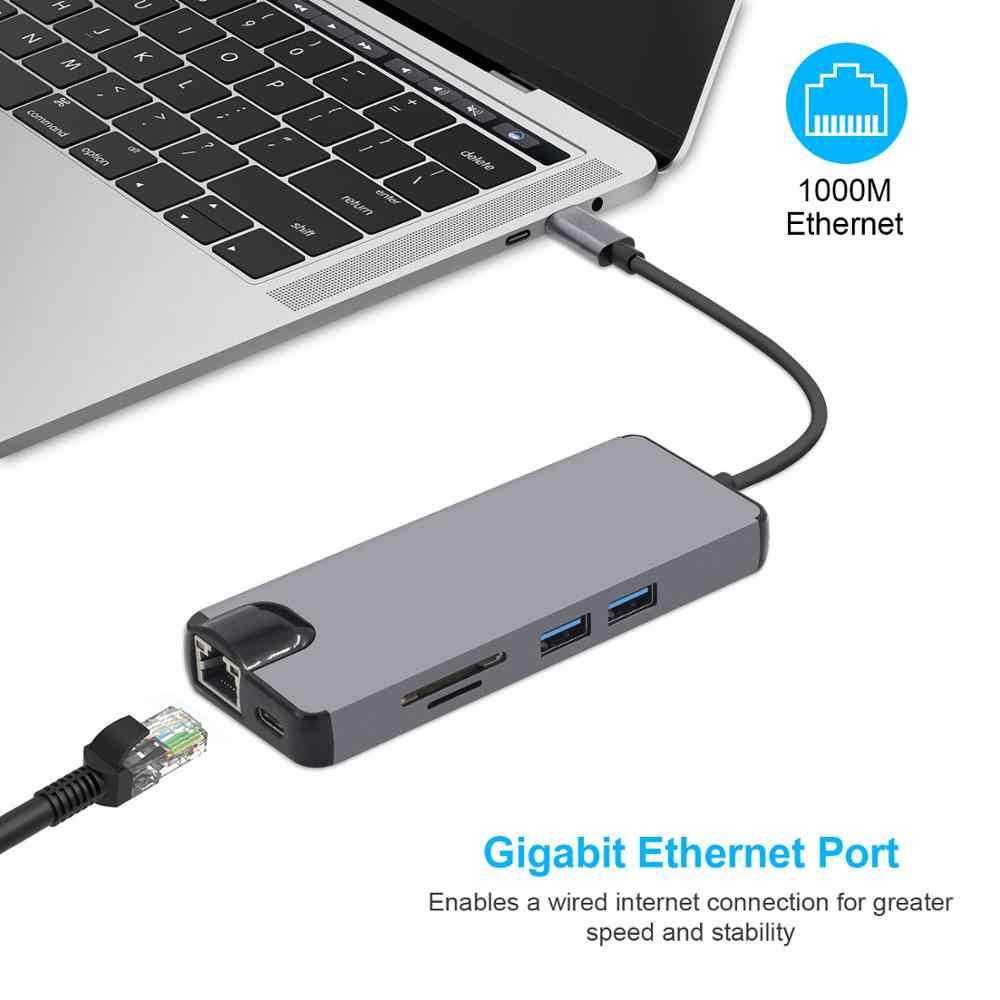 8 في 1 USB C إلى HDMI Hub 4K الفيديو RJ45 جيجابت إيثرنت VGA محول USB-C محور SD TF قارئ بطاقة لماك بوك برو هواوي MateBook