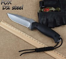 HOT FOX Fixed D2 Blade Knife Hunting Tactical Knife G10 Handle With Kydex Sheath Camping Survival Knives Outdoor Tools k106