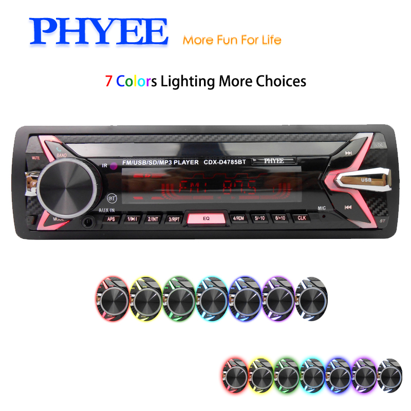 Abnehmbare Auto Radio Bluetooth Autoradio USB 1 Din Stereo Audio MP3 SD FM Tuner High Power Kopf Einheit PHYEE 4875BT