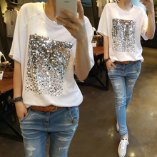 Summer 2017 new Korean version of the loose large size cotton sequins bamboo cotton white t-shirt female short-sleeved fitness
