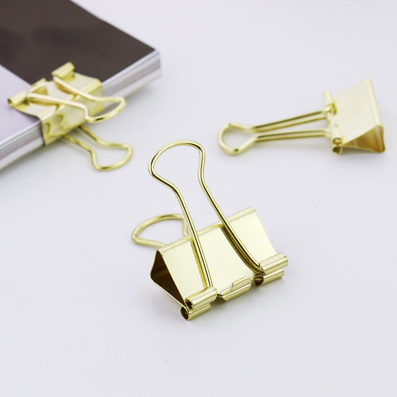 TUTU 10pcs/lot Solid Color Rose Gold Metal Binder Clips Notes Letter Paper Clip Office Supplies H0059 6