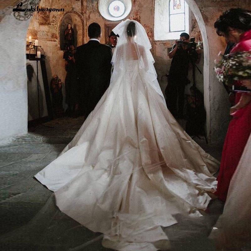 Vestido De Noivas White Satin Strapless Wedding Dress 2019