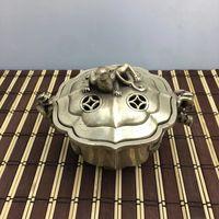 Chinese Miao Silver handwork carving Pi Xiu incense burner / qianlong mark