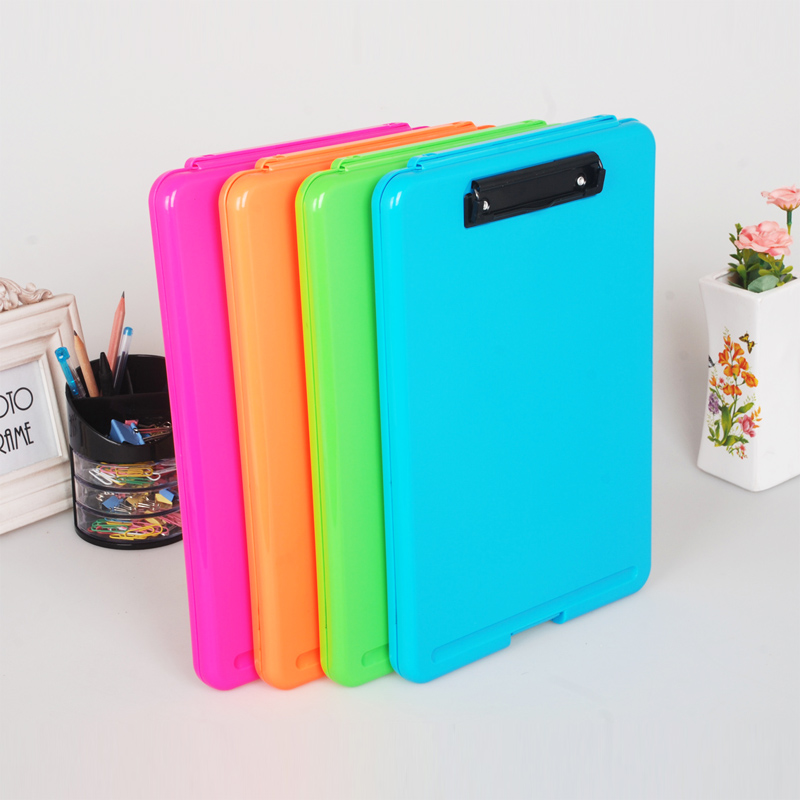 Candy Color Multifunctional File Case Plastic Clipboard File Folder with Pen Hold and Hanging Holdes Creative Office Supplies plastic
