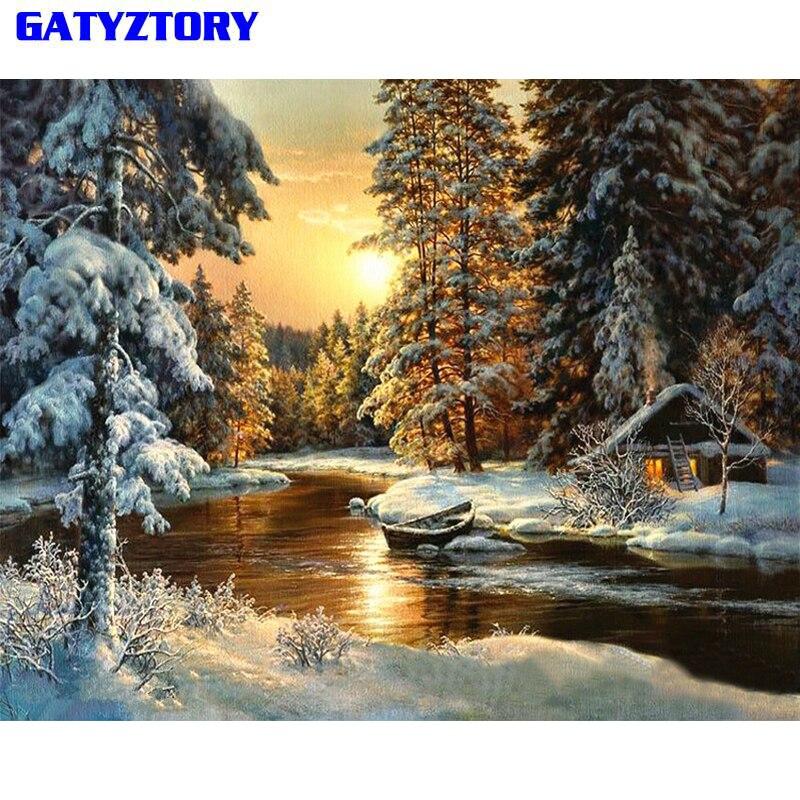 GATYZTORY Dorf Schnee DIY Malen Nach Zahlen Segeltuch Painitng Hause Wandkunst Bild Färbung Durch Zahlen Für Wohnkultur 40x50 cm