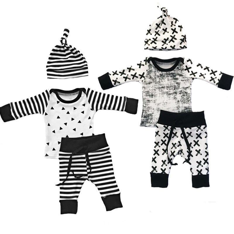 Kids Baby Boy Clothes T-shirt Tops Pants Hat 3pcs Outfits Set Newborn Baby Boys Clothing Toddler Infant kids clothing set plaid shirt with grey vest gentleman baby clothes with bow and casual pants 3pcs set for newborn clothes