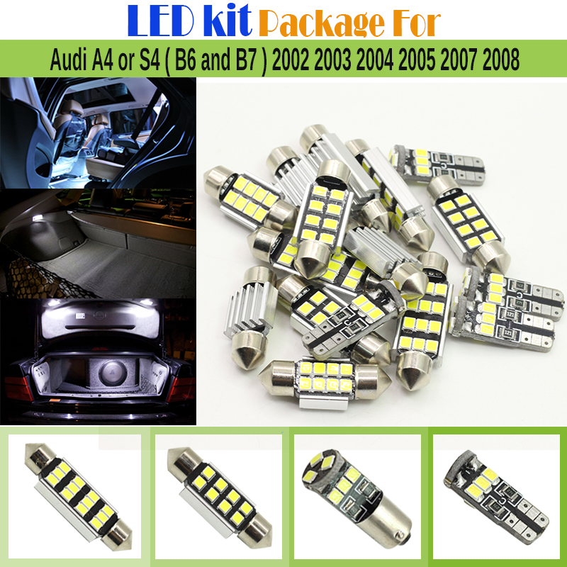 15 x Car Interior 2835 Chip LED Kit Package Canbus LED Bulbs White For Audi A4 S4 ( B6 and B7 ) 2002 2003 2004 2005 2007 2008 i9505 s4 cpu chip package k3qf2f200e xgcb