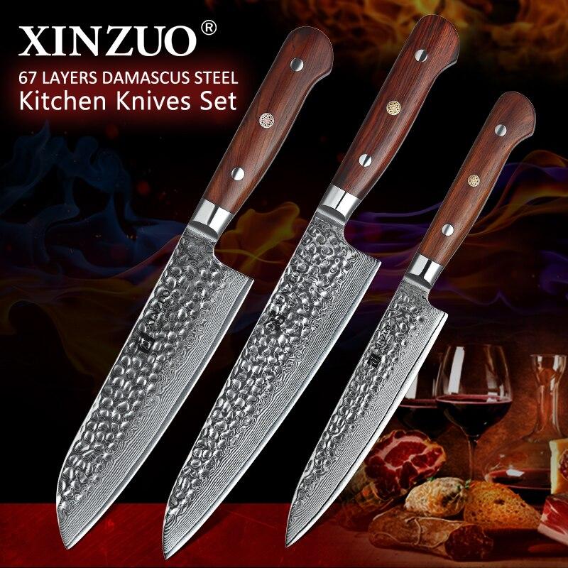 XINZUO 3 Faca de Cozinha PCS Conjunto Dâmaso Aço Facas de Cozinha Do Chef Santoku Facas Cutelo faca de Corte Faca de Frutas Rosa Punho de Madeira