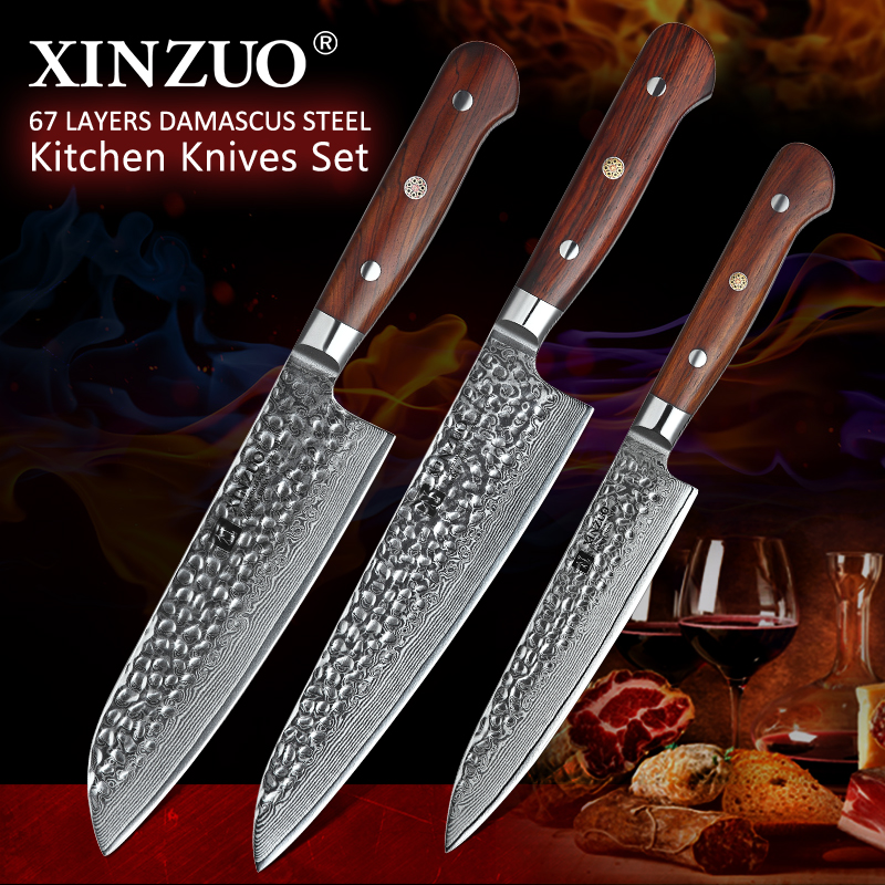 XINZUO 3PCS Kitchen Knife Set Damasus Steel Knives Kitchen Chef Santoku Fruit Knives Cleaver Slicing Knife Rose Wood Handle XINZUO 3PCS Kitchen Knife Set Damasus Steel Knives Kitchen Chef Santoku Fruit Knives Cleaver Slicing Knife Rose Wood Handle
