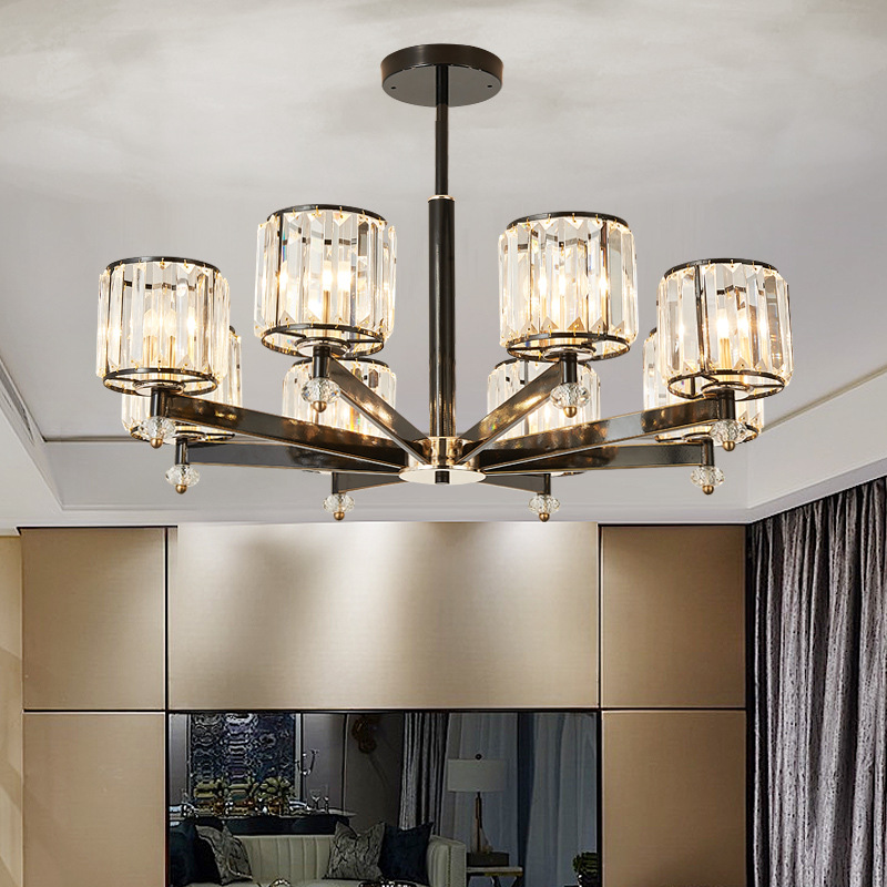 American crystal LED chandelier glass living room suspended lights restaurant lamp wrought iron fixtures bedroom lighting