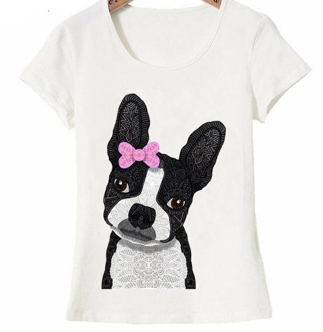 AMEITTE t femmes t shirt mignon Boston Terrier fille imprimer T Shirt belle conception de chien