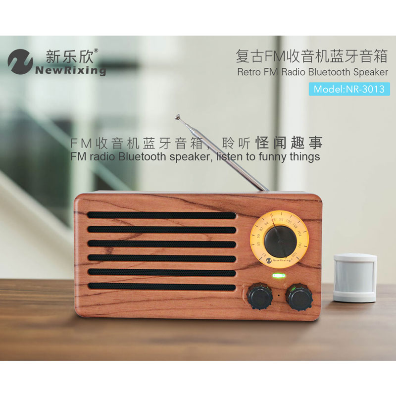 10W Wireless Bluetooth Speaker Digital Stereo Wood Grain Retro FM Radio Mini Music Player Boombox Support TF USB AUX Sound Box