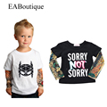 EABoutique 2016 Winter New Fashion Rock Design tattoo arm sleeve kids T-shirts for baby boys girls