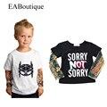 Eaboutique 2016 inverno novo da forma da rocha do projeto do tatuagem manga braço crianças t-shirt para o bebê das meninas dos meninos