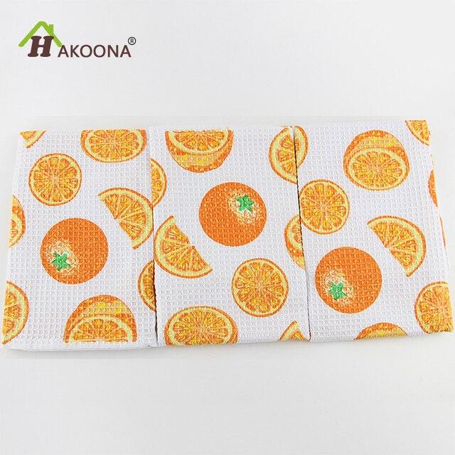 US $10.25  HAKOONA 3 Pezzi/set Arancione Stampato Waffle Strofinacci Da  Cucina Tovagliette Tovaglioli 100% Panno di Cotone Panno 40x60 cm in  HAKOONA 3 ...