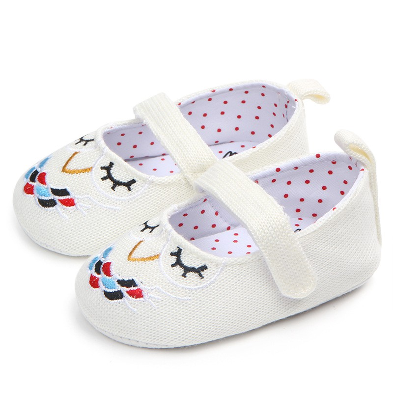 Infant Toddler Baby Knit Crib Shoes Newborn Girl Cartoon Soft Soled Non-slip Footwear Crib Shoes 0-18M