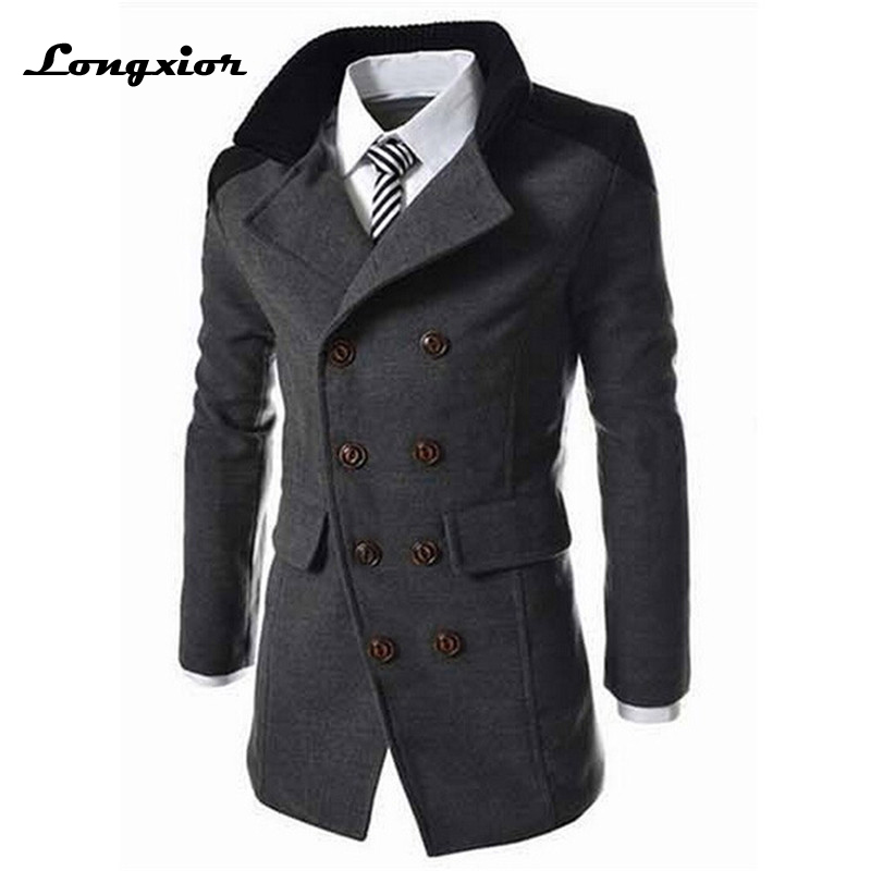 Hot Sale Autumn Long Wool Coat Men Fashion Turn-down Collar Wool Blend Double Breasted Pea Coat Jacket Men Brand Overcoats J-M7