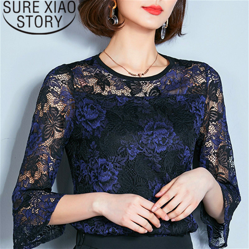 blusas mujer de moda 2019 Lace   Shirt   Female Short Sleeve   Blouse   O-neck women   blouses     shirts   fashion Black women tops 2221 50