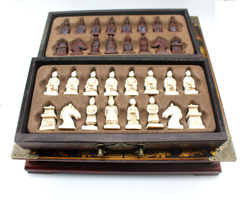 High-end Collectibles Vintage Chinese Terracotta Warriors Chess Set Best gift for Leaders Friends Family 26.5*26.5cm*6cm 5