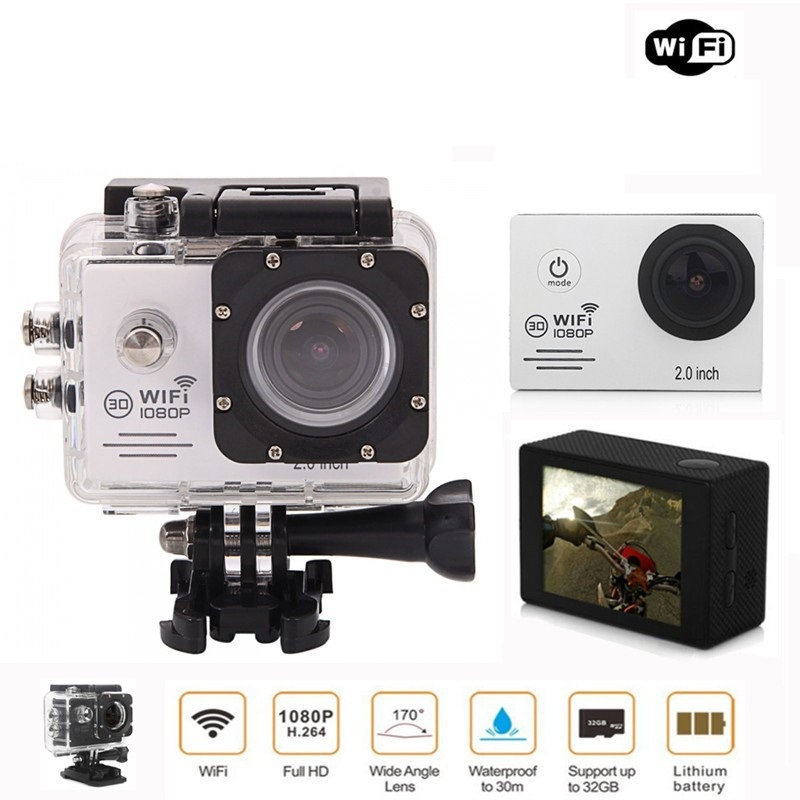 Ausek 1080P 30fps 16MP Full HD Sports Action Camera With  2 Inch LCD Built in 900mAh Battery For RC FPV Racing Camera Drone meike dslr camera built in 2 4g battery grip for canon eos 7d mark ii as bg e16