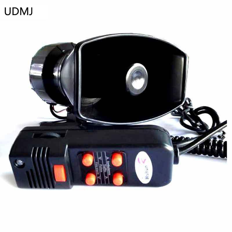 UDMJ אופנוע רכב רכב רכב ואן 12V אזהרה אלקטרונית משטרה סירנה קרן מכבי אש אמבולנס רמקול עם MIC 100W