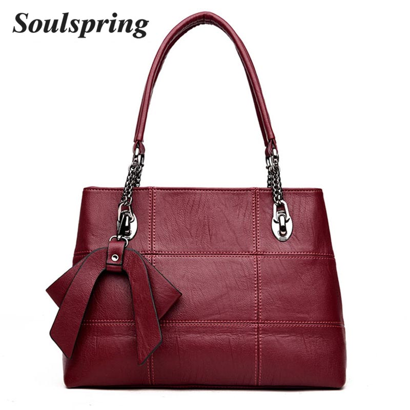 New Genuinue Leather Bags For Women Plaid Handbag Female Bow Messenger Bags Large Capacity Casual Tote Bag Bolsa feminina 2018 forudesigns fashion flower painting women casual tote bags large crossbody messenger bags for women female bag bolsa feminina